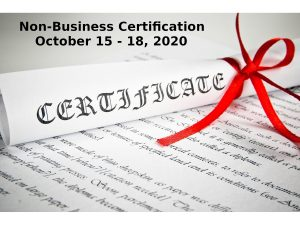 Non Business Certification October 15 17